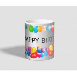 Színes lufikkal körbevett, Happy Birthday feliratú születésnapi bögre