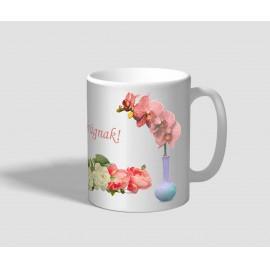 Orchideával, és rózsával díszített nőnapi bögre