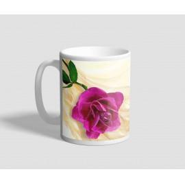 Rózsaszín rózsás, barnás hátterű idézetes bögre
