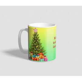 Zöldes-sárgás hátterű, ajándékkal és jókívánsággal díszített karácsonyi bögre