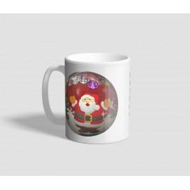Mikulás és hóember mintájú gömb díszes karácsonyi bögre