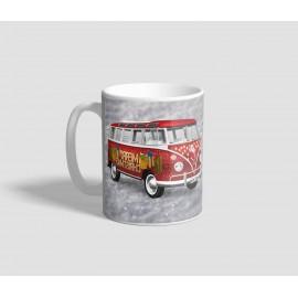 Piros mikrobuszos, Merry Christmas feliratú karácsonyi bögre