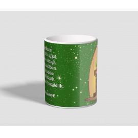 Zöld csillagos hátterű, verses karácsonyi bögre