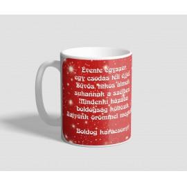 Piros csillagos hátterű, verses karácsonyi bögre