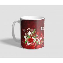 Fehér karácsonyfás, piros hátterű karácsonyi bögre