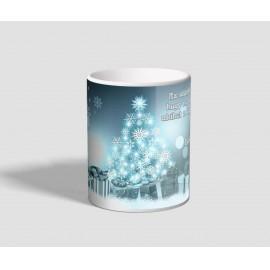Kék színekben pompázó idézetes karácsonyi bögre