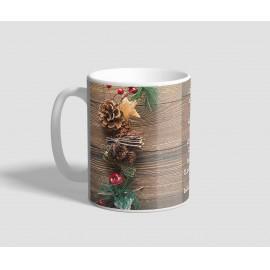 Fa mintás hátterű, idézetes karácsonyi bögre
