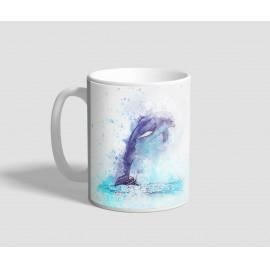 Kék festékfoltos delfineket ábrázoló delfines bögre