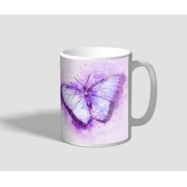 Lilás hátterű, lila pillangós bögre