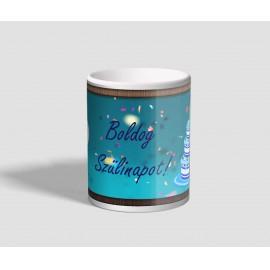 Barna keretes, kék hátterű, lufis, tortás születésnapi bögre