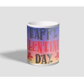 Kékes-sárgás hátterű, angol feliratos valentin napi bögre