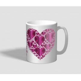 Sok-sok lila szívvel borított valentin napi bögre