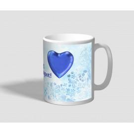Kék szíves, levél mintás hátterű valentin napi bögre