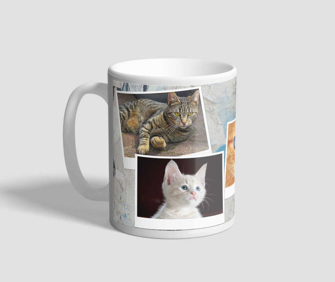Öt macskát rejtő, fotómontázsos cicás bögre