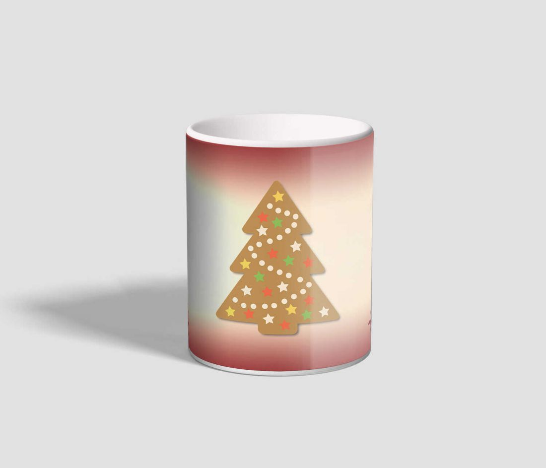 Rózsaszínes hátterű, mézeskalácsos karácsonyi bögre