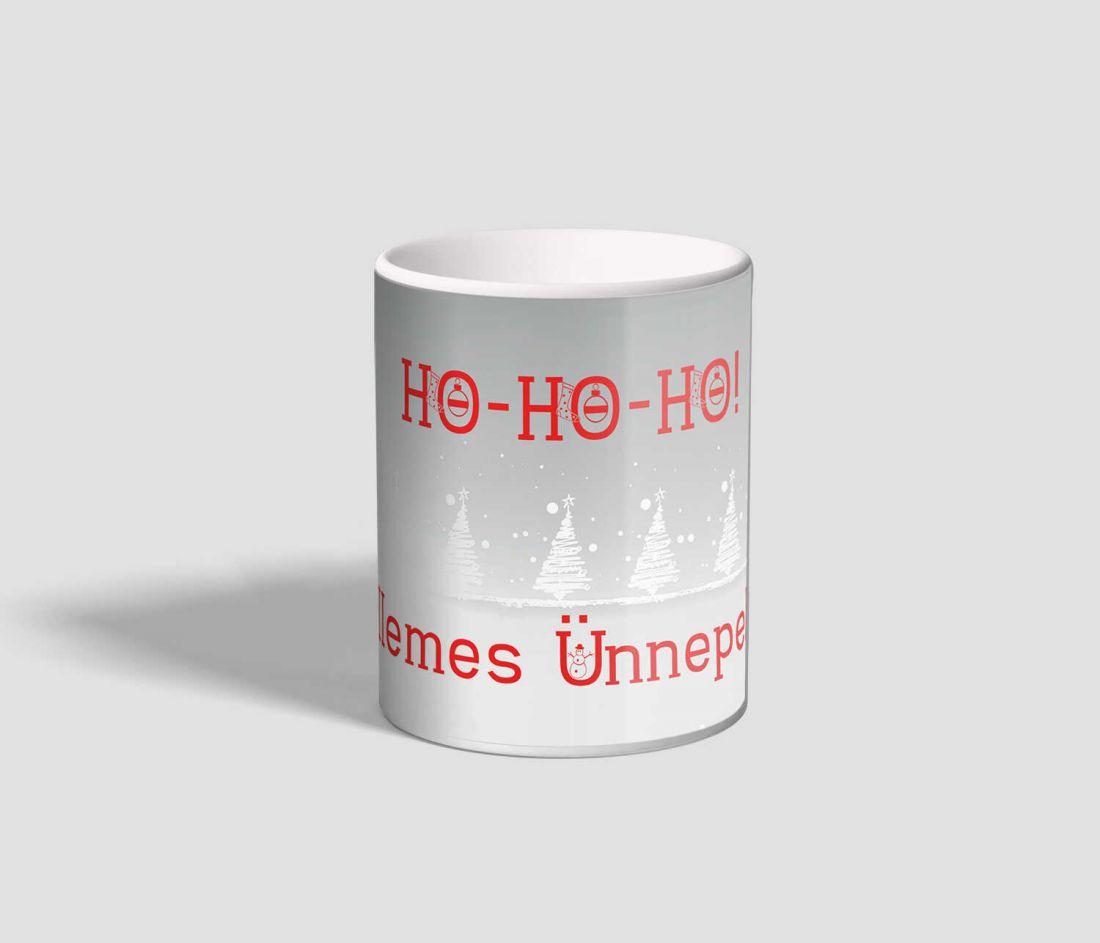 Ho-ho-ho feliratú, mikulásos rénszarvasos karácsonyi bögre