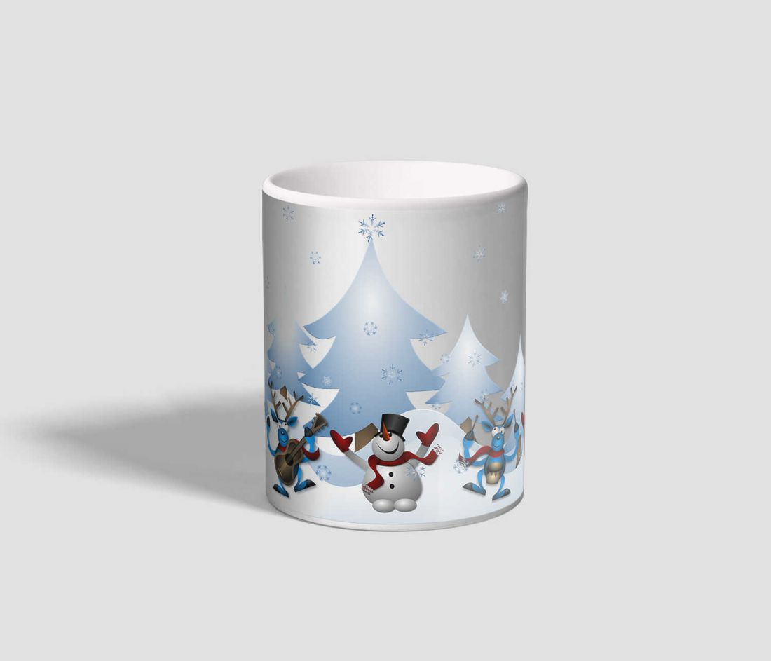 Vidám, táncoló hóemberes, rénszarvasos karácsonyi bögre