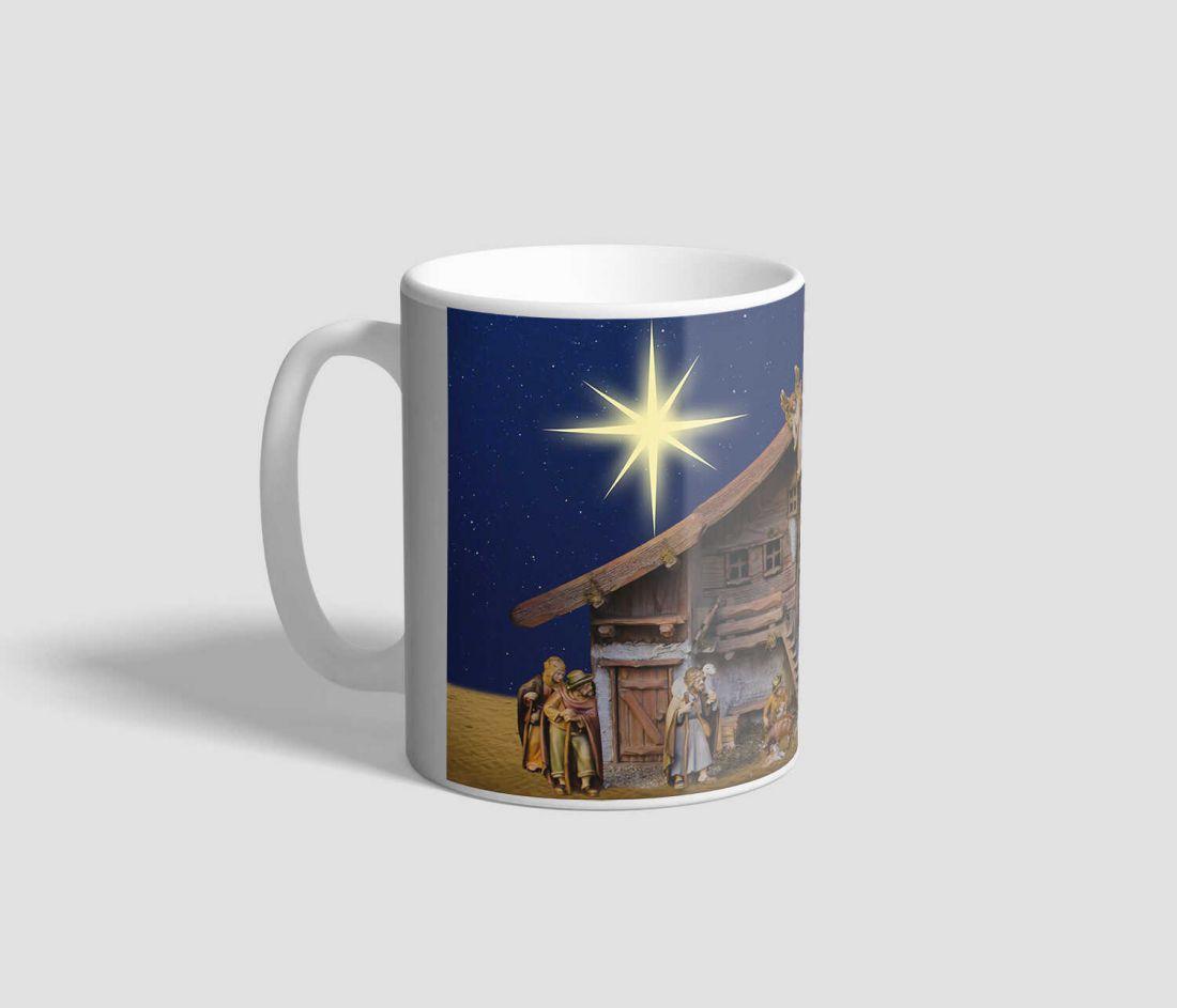 Betlehemi csillagos, jászolt ábrázoló karácsonyi bögre