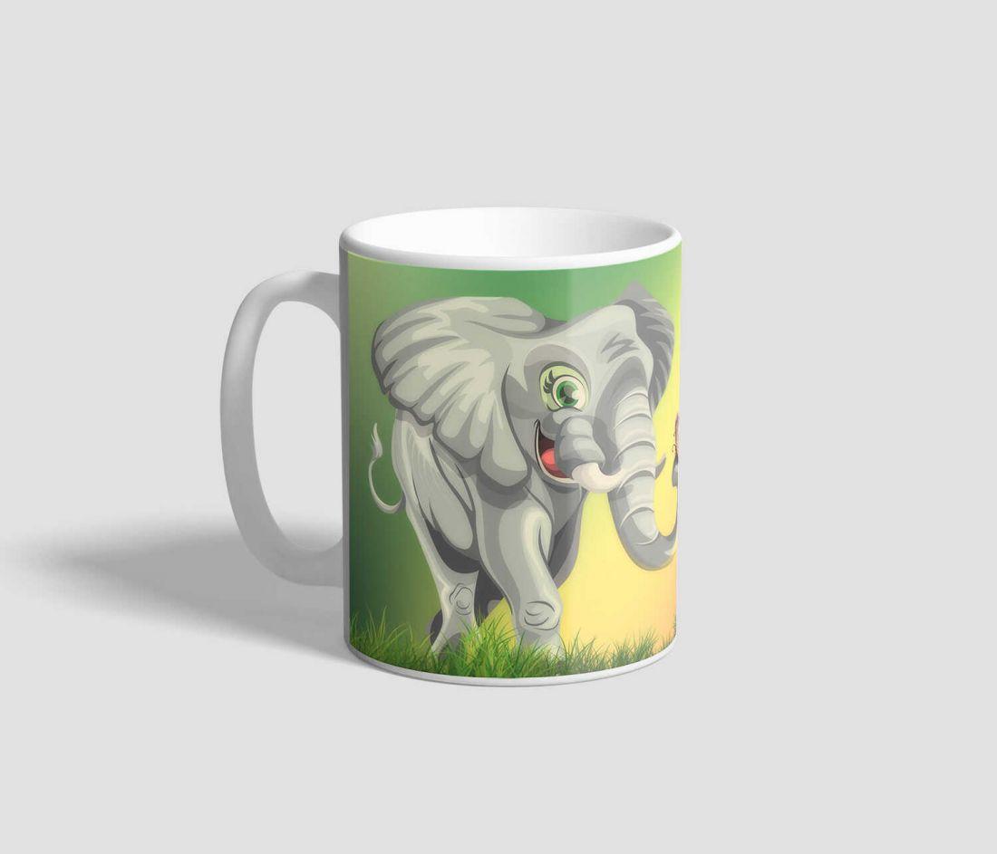 Szivárványos hátterű, mosolygó bébi elefántos bögre