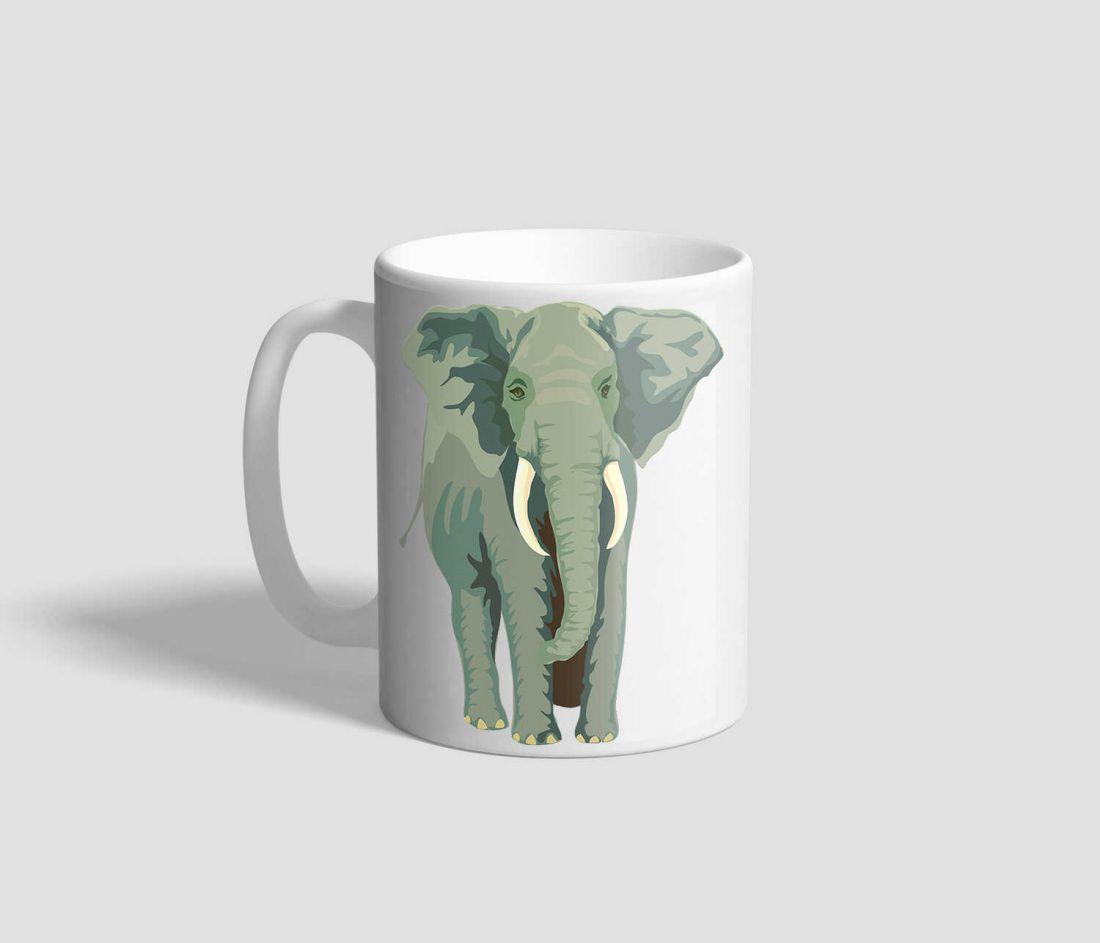 Két nagy elefántot ábrázoló elefántos bögre