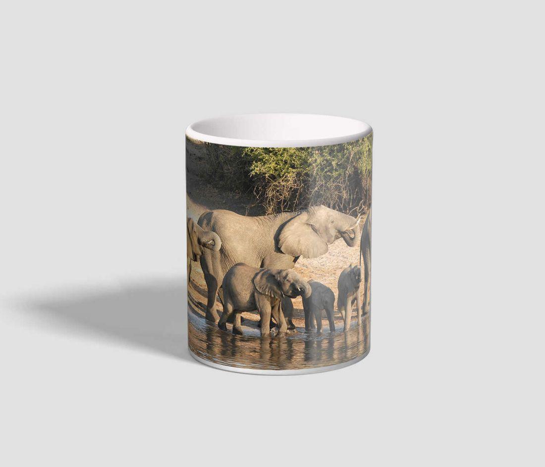 Szomjukat oltó ormányos emlősöket ábrázoló elefántos bögre