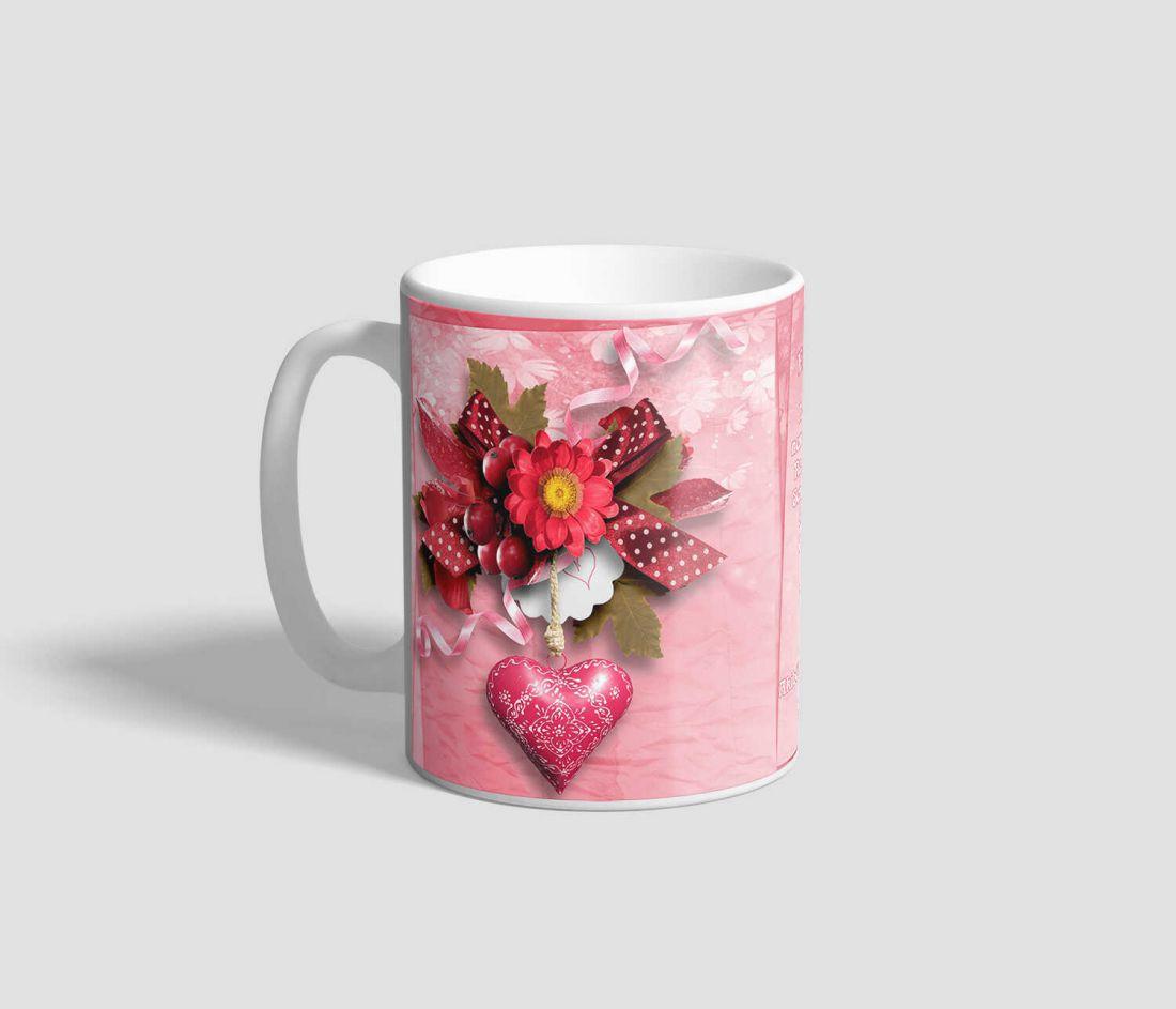 Rózsaszínes hátterű Drága Egyetlenem feliratú, idézetes szerelmes bögre