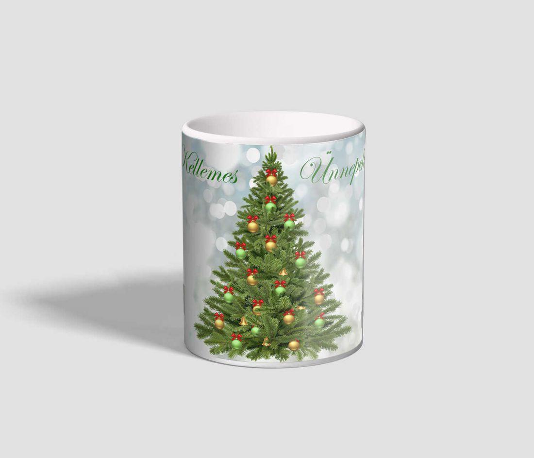 Fenyőfás, ajándékos, Kellemes Ünnepeket feliratú karácsonyi bögre