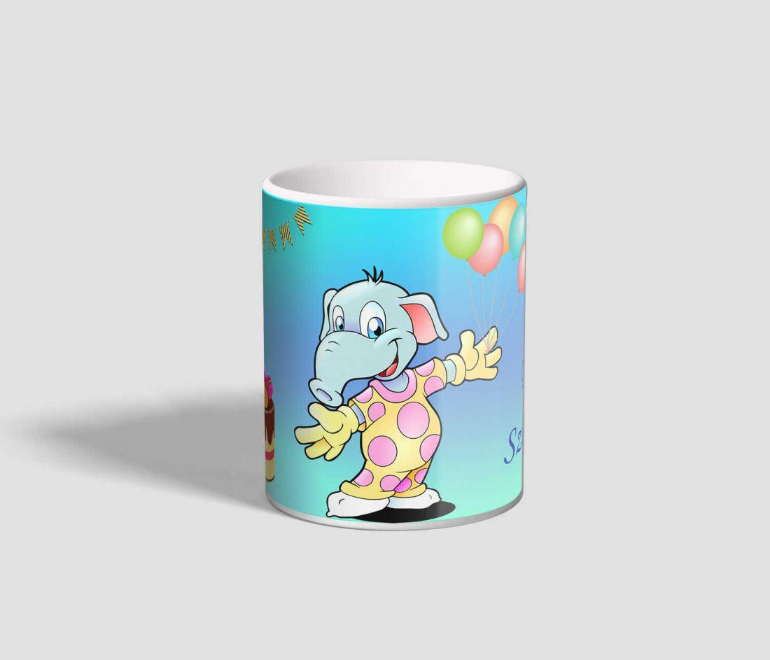 Vidám kiselefántot ábrázoló, Boldog Szülinapot feliratú elefántos bögre
