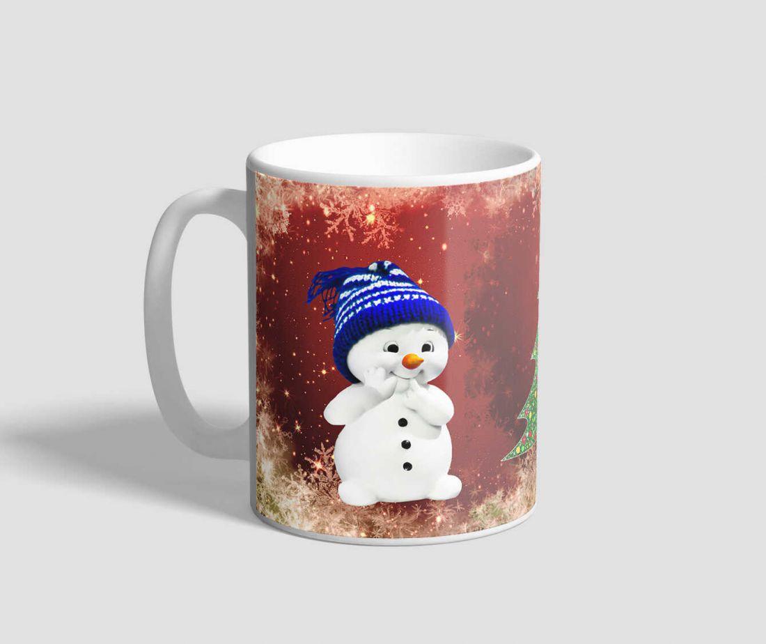 Cuki hóemberes, piros hátterű karácsonyi bögre
