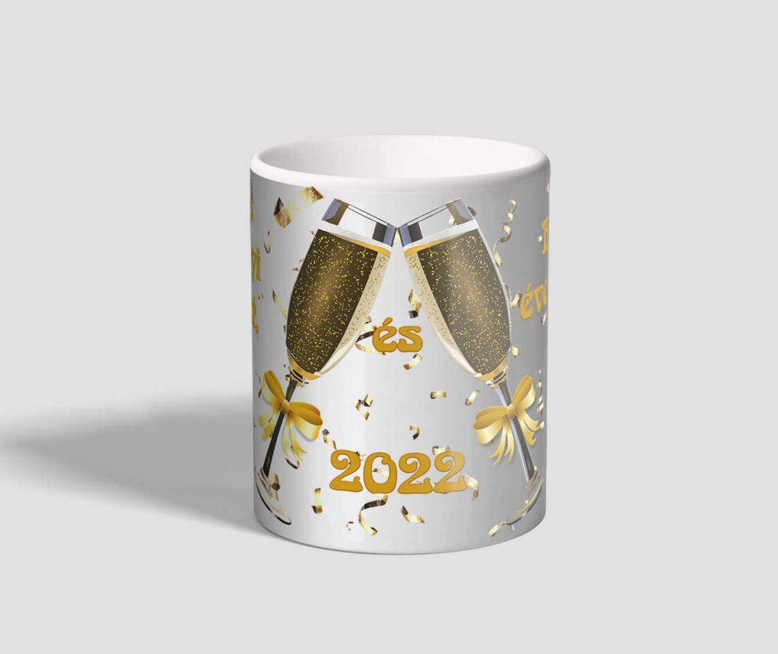 Pezsgős poharas, boldog új évet 2022 feliratú karácsonyi bögre