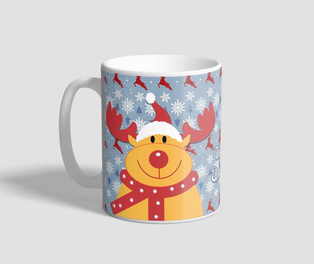 Vidám rénszarvasos, kellemes ünnepeket feliratú karácsonyi bögre