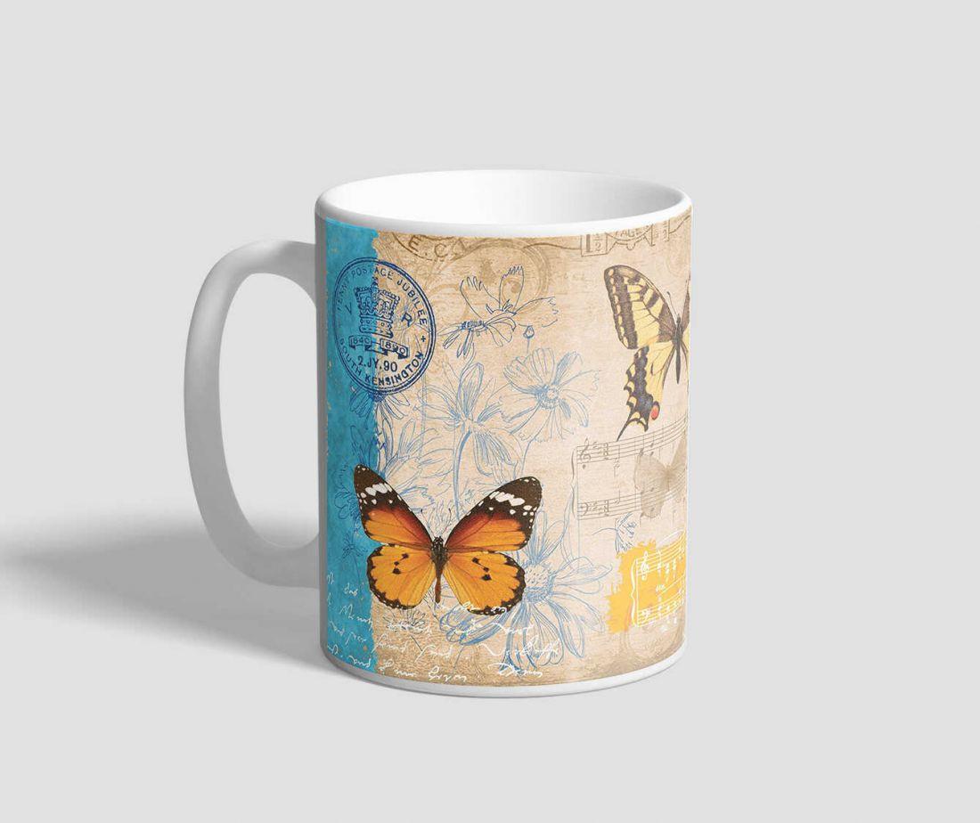 Retro hangulatú, hangjegyes, virágos hátterű pillangós bögre