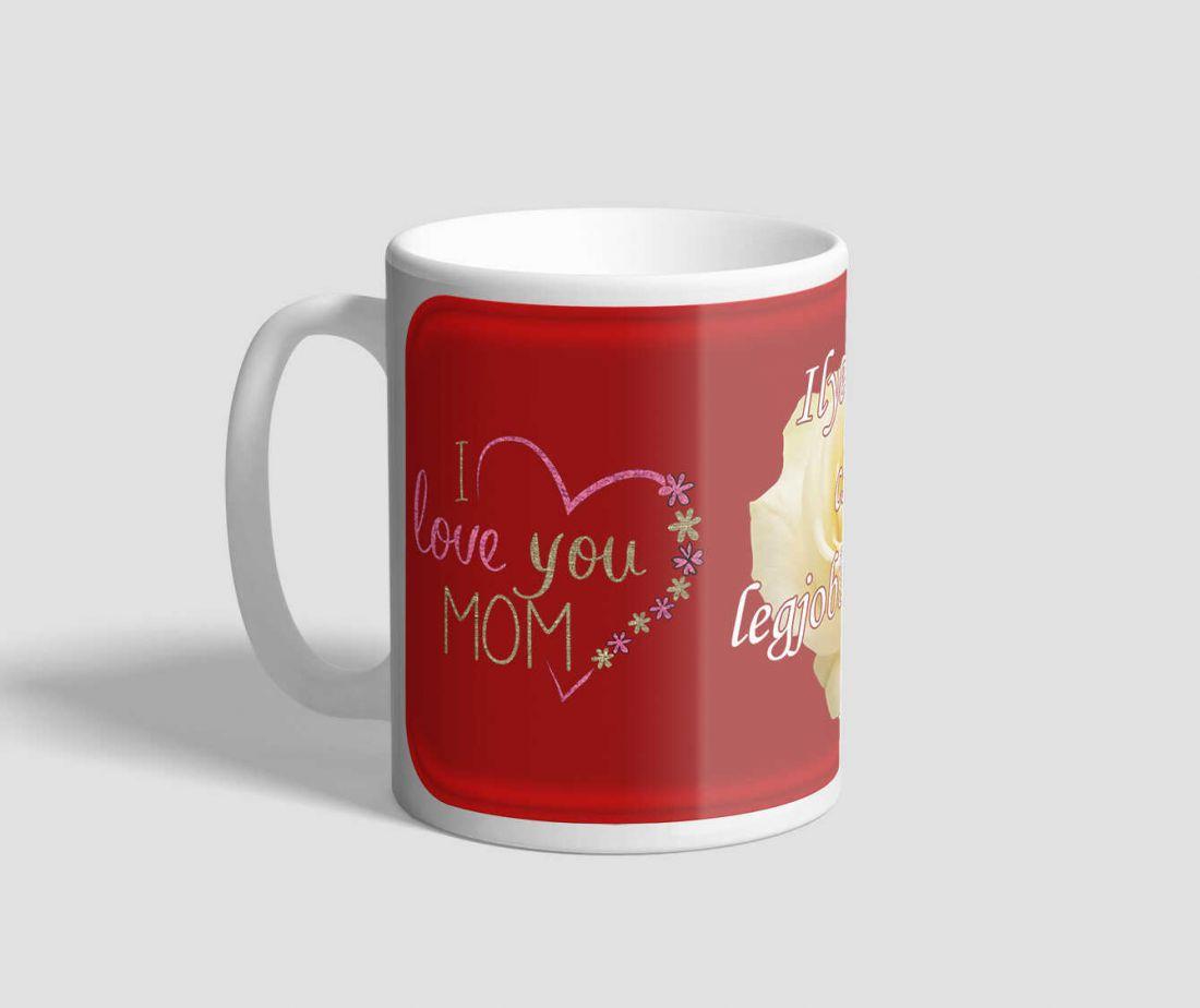 Legjobb anyának szóló, piros hátterű feliratos bögre