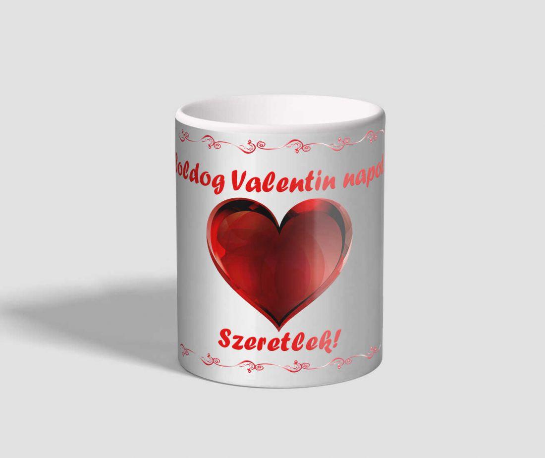 Díszes keretes, szíves valentin napi bögre