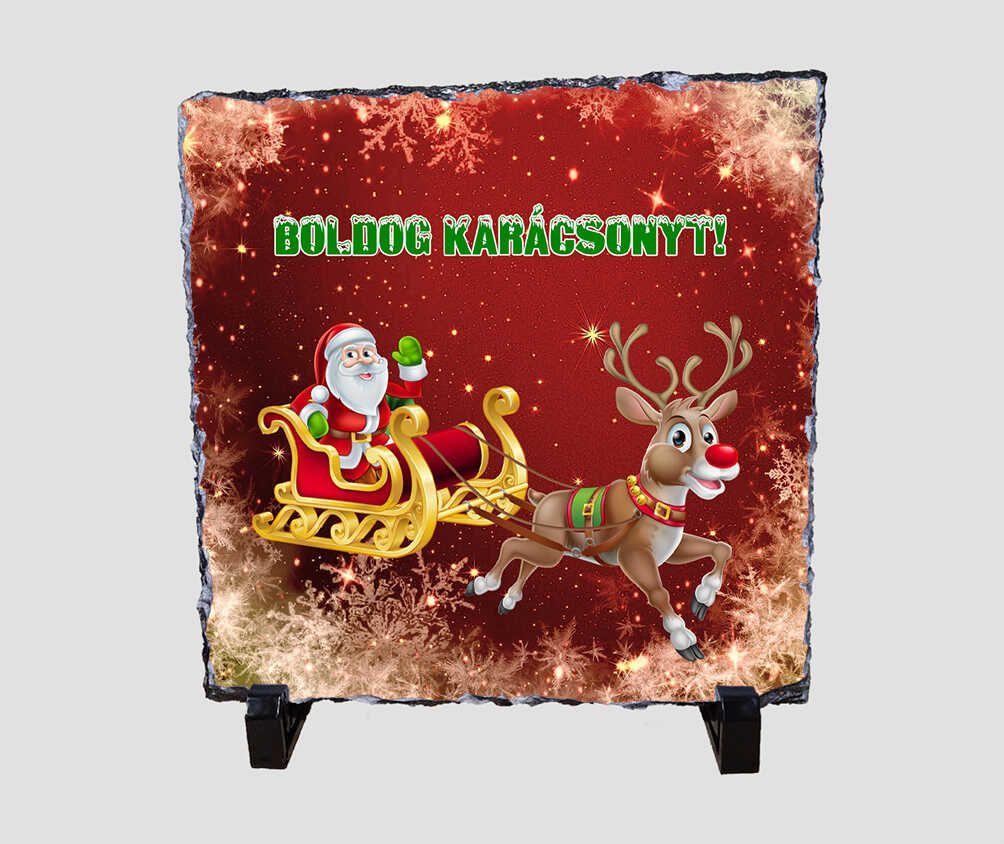 Integető mikulásos, piros hátterű 20x20 cm-es karácsonyi kőlap
