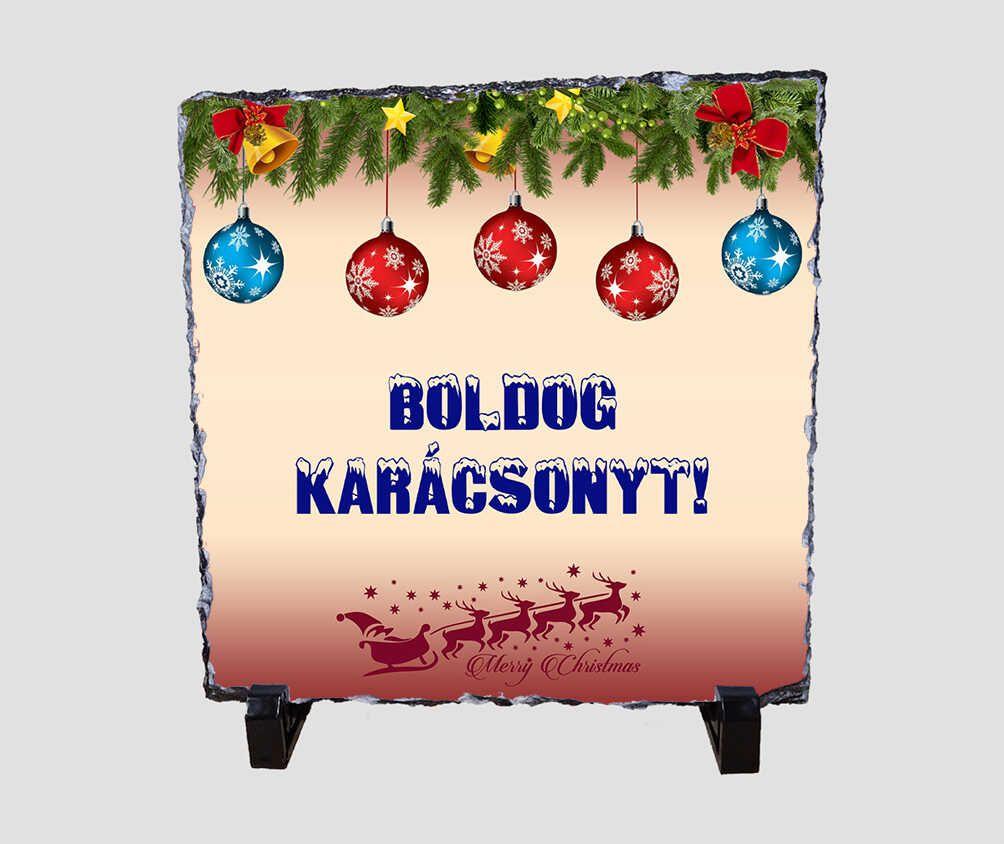 Fenyőágakkal, és színes gömbökkel díszített, 20x20 cm-es karácsonyi kőlap