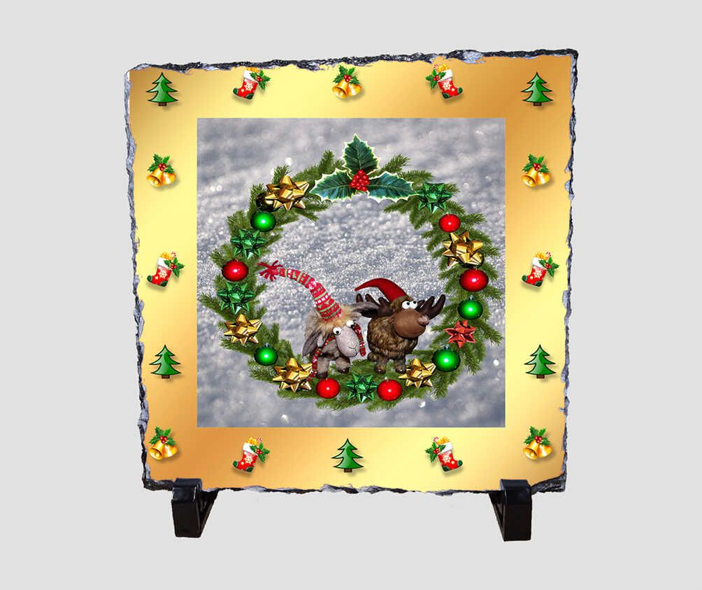 Cuki plüssfigurás, 20x20 cm-es karácsonyi kőlap
