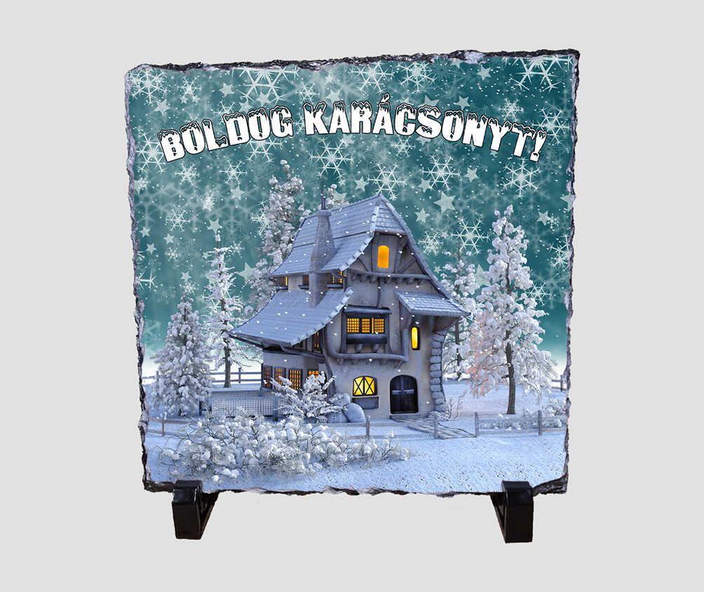 Gyönyörű havas tájat ábrázoló, 20x20 cm-es karácsonyi kőlap