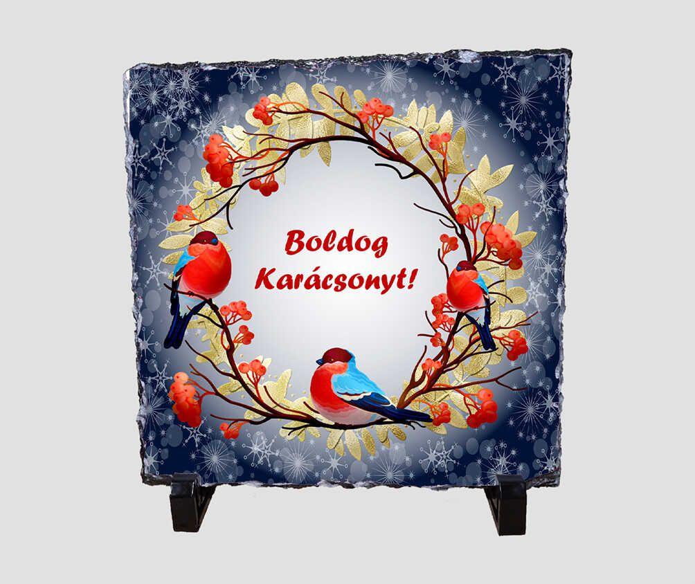Virágos koszorún ülő madarakat ábrázoló 20x20 cm-es karácsonyi kőlap