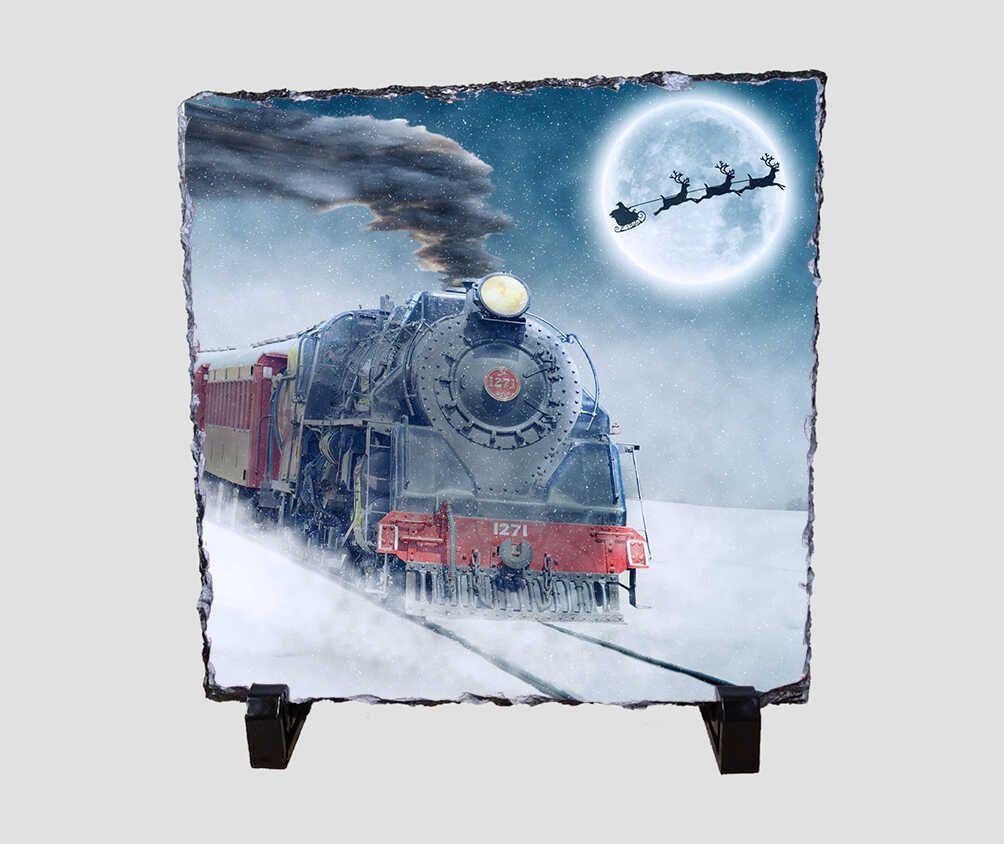 Havas tájon haladó express vonatot ábrázoló 20x20 cm-es karácsonyi kőlap