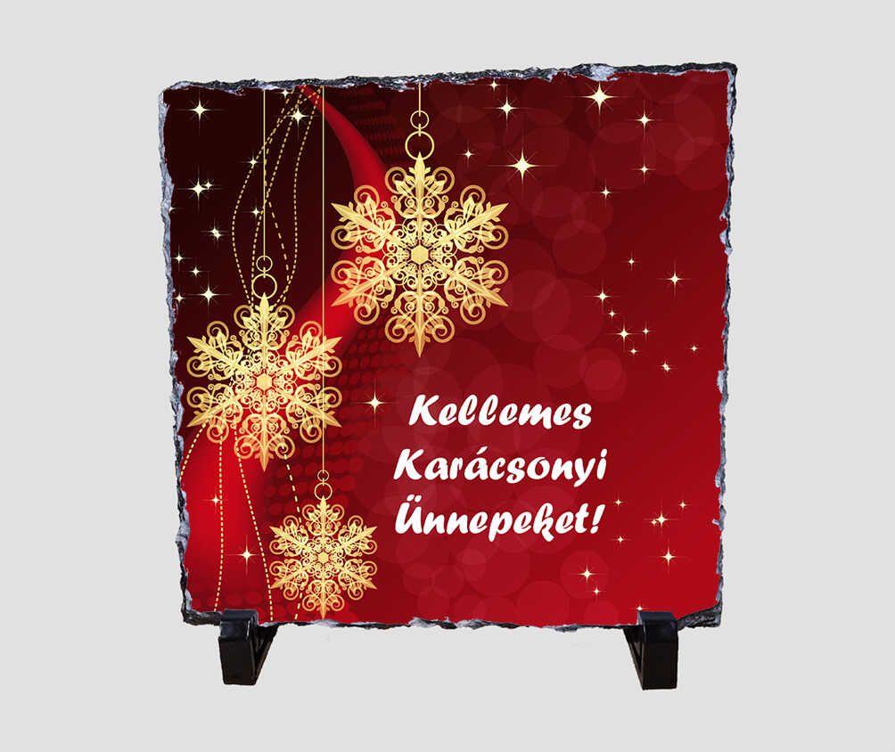 Fényes csillagokkal teli, piros hátterű 20x20 cm-es karácsonyi kőlap