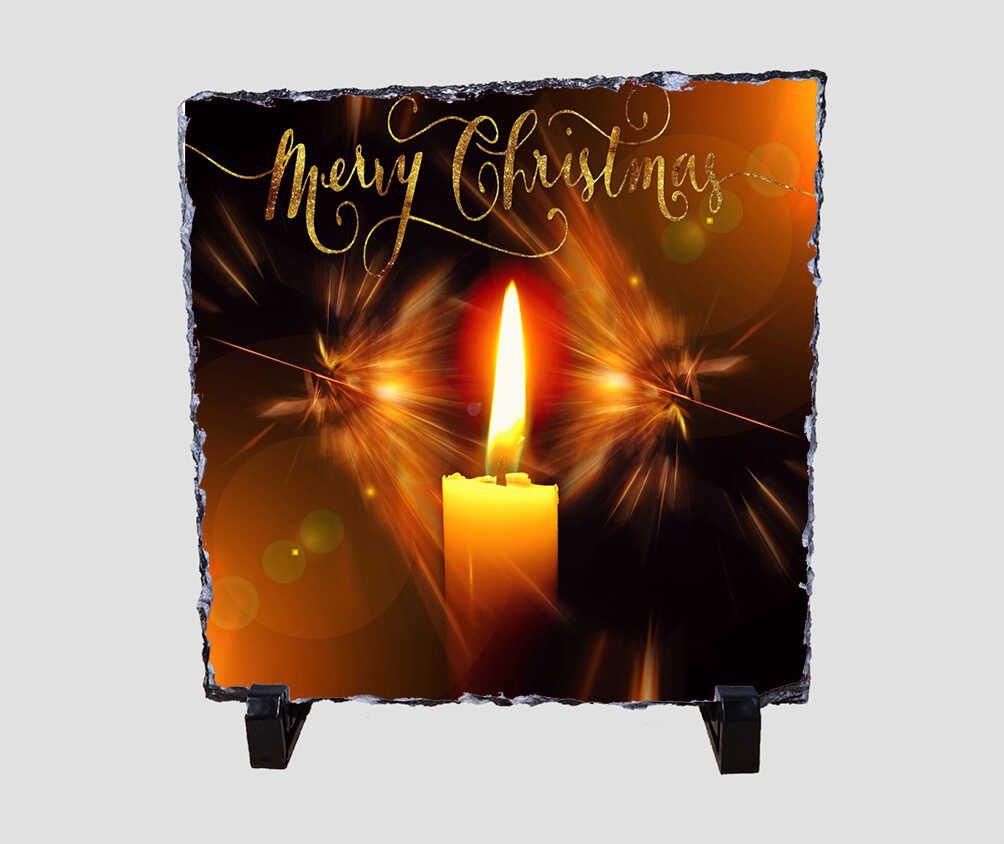 Égő gyertyát ábrázoló 20x20 cm-es karácsonyi kőlap