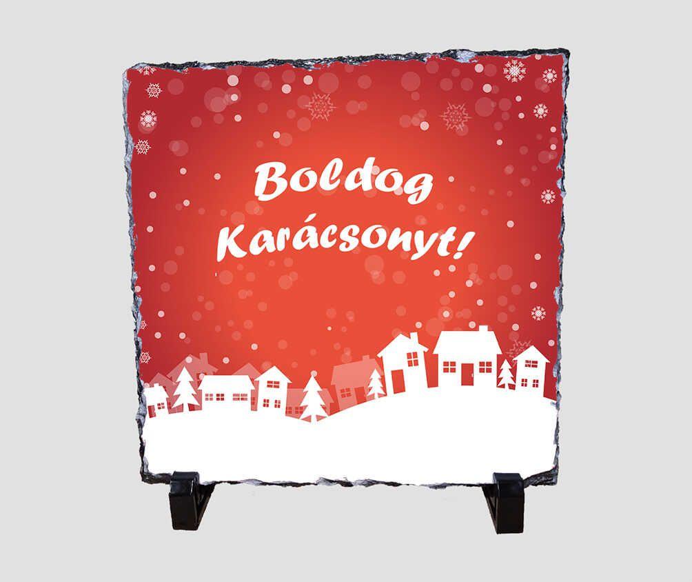 Téli hangulatú, Boldog Karácsonyt feliratú 20x20 cm-es karácsonyi kőlap