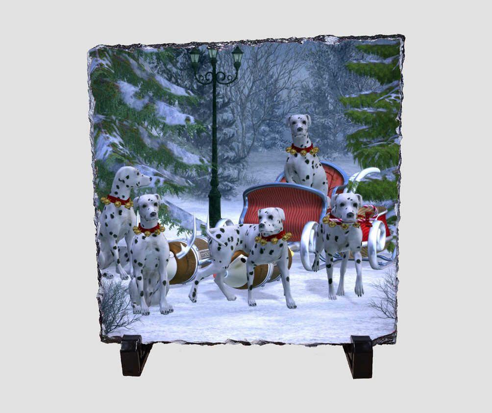Mikulás szánt, és dalmata kutyákat ábrázoló 20x20 cm-es karácsonyi kőlap