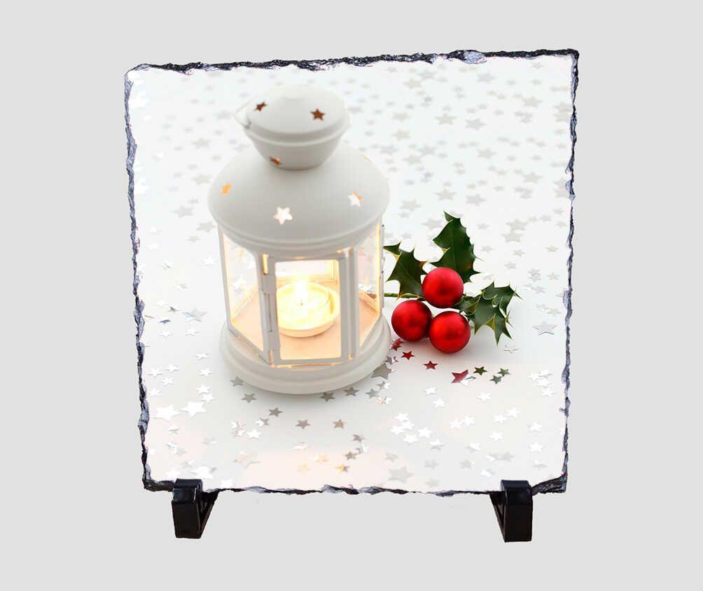 Csillagos díszítésű fehér lámpást ábrázoló 20x20 cm-es karácsonyi kőlap