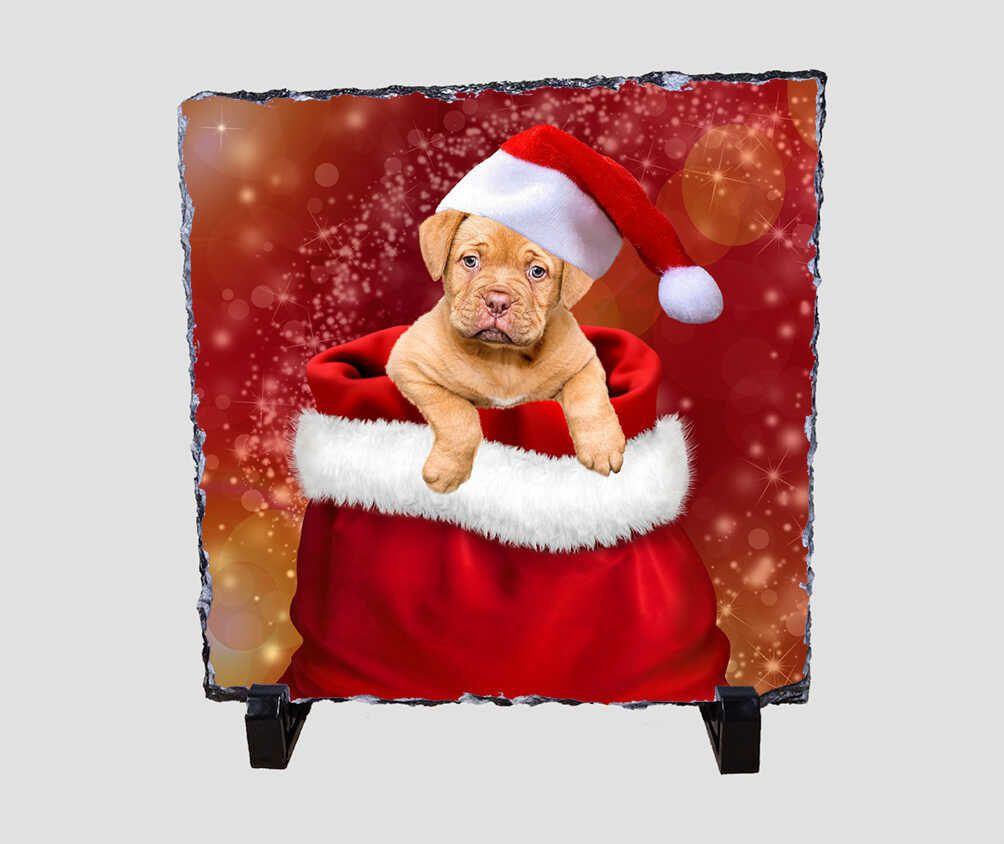 Mikulás zsákjából előbújó kiskutyát ábrázoló 20x20 cm-es karácsonyi kőlap
