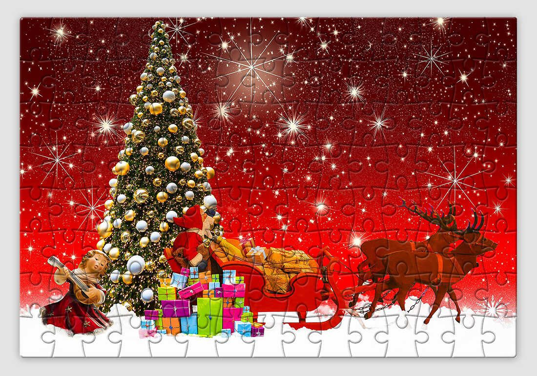 Ajándékkal teli karácsonyfát ábrázoló piros hátterű karácsonyi kirakó