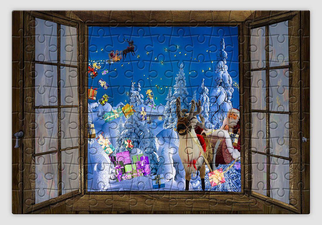 Ablakból megpillantott Mikulást ábrázoló karácsonyi kirakó