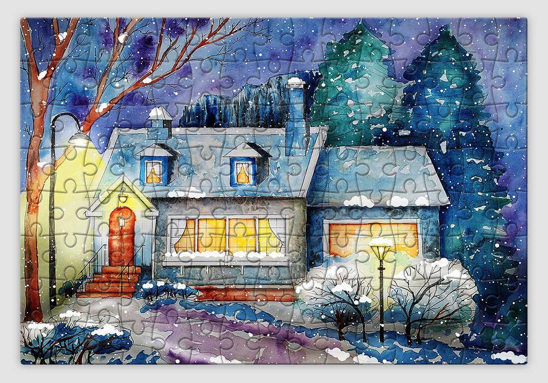 Aranyos házikós festményt ábrázoló karácsonyi kirakó