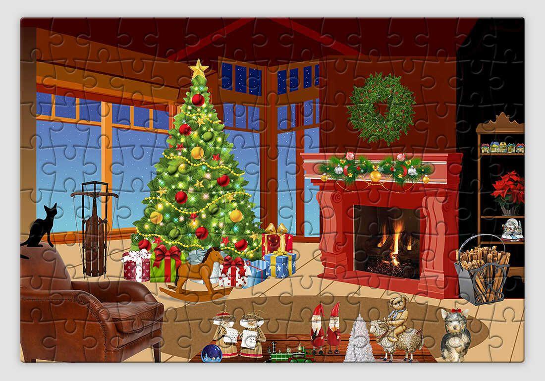 Ünnepi díszben pompázó nappalit ábrázoló karácsonyi kirakó